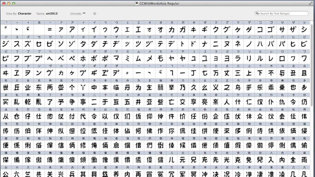 A portion of the font completed so far...